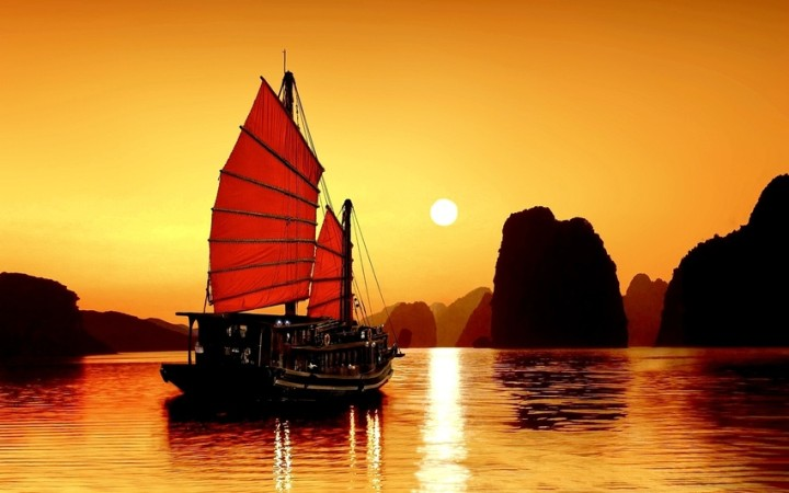 romantic sunset on phuket